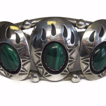 Vintage Navajo Teddy Goodluck Jr Feather Malachite Bear Paw Cuff Bracelet