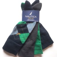 NWT Mens Nautica 4 Pairs Crew Classics Socks Argyle Green Navy Blue Gray Solid