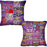 2pc set Purple Vintage Bohemian Indian throw Pillow Purple, decorative gypsy throw pillow for couch bohemian patchwork ethnic indian pillow