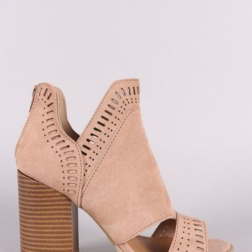 Qupid Perforated Suede Chunky Heeled Booties