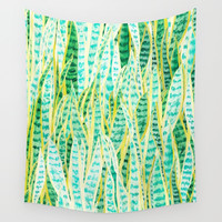 green snake plant pattern Wall Tapestry by Color and Color