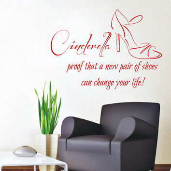 Cinderella Wall Decal Quote Girl Shoes Vinyl Stickers Fashion Beauty Salon Decal Shoe Art Mural Home Interior Design Living Room Decor KI159