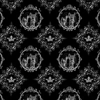 Fairy Tale Castle and Crown on Black - 13moons_design - Spoonflower