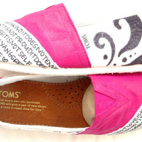 The Pixley  Fuscia Hot Pink and White Custom TOMS by FruitfulFeet