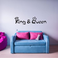 King and Queen with Crowns Wall Decal Wall Decal Quote