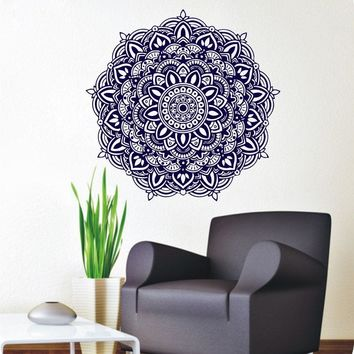 Free Shipping Wall Stickers Mandala Meditation Yoga Wall Decals Buddha Om Symbol Removable Home Living Room Art DecorationY-344