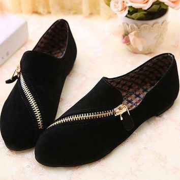 Black Point Toe Zipper Casual Confortable Flat Shoes