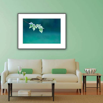 Nature Photography - Emerald Green Wall Art - Leaf Print Photography - Monochromatic Print - Botanical Photo Print - Living Room Wall Art