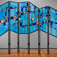 Happy in Blue too by Ernest Porcelli: Art Glass Screen STUDIO SALE | Artful Home
