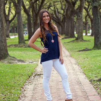 Navy Crocheted Tank