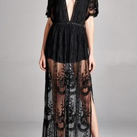 Black Deep V Lace Maxi Romper Dress