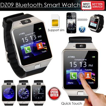 2017  DZ09 Smart Watch with Camera Bluetooth 3.0 Support SIM Card TF Card WristWatch for Apple IOS and Android Phone