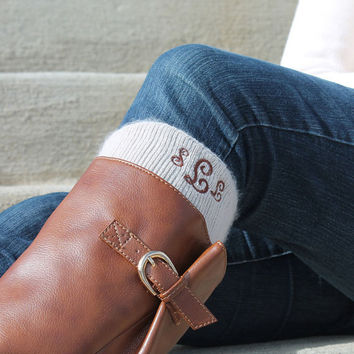 Monogram Boot Socks Personalized Knee High