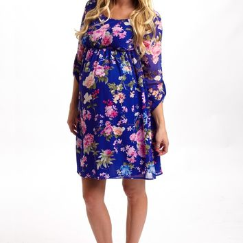 Royal Blue Floral 3/4 Sleeve Chiffon Maternity Dress