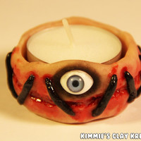 Polymer Clay Candle Votive - Scary Eyeball