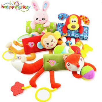 New Cartoon Musical Caterpillar Educational Baby Toy With Ring Bell Stuffed Plush Animal Kids Toys Baby Rattles Mobiles