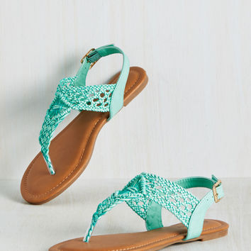 That Braid My Day! Sandal in Seaglass | Mod Retro Vintage Sandals | ModCloth.com