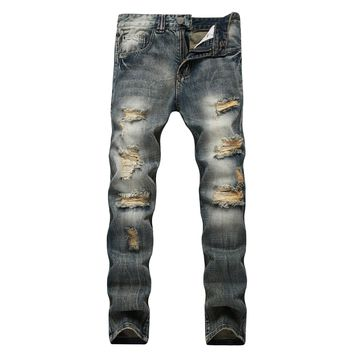 Ripped Holes Men's Fashion Cotton Men Plus Size Jeans [127702171677]
