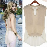 SUMMER ESSENCE CHIFFON TIE BLOUSE