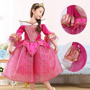 ICIKH6B High quality Sleeping Beauty cosplay Costume For Kids Children girl  Clothing Girl Princess Aurora Fancy red Dress