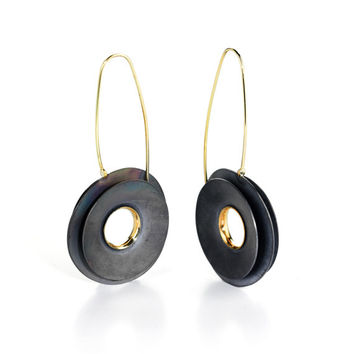 DISK Earrings I, Gold and Sterling Silver Earrings, 18K Gold  Dangle Earrings, Contemporary Jewelry, Artistic Jewelry