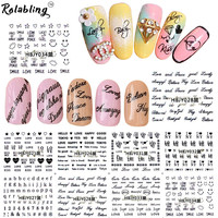 Rolabling Letter Design 3d nail stickers women adhesive nail minion nail stickers decorations cheap stickers for nails