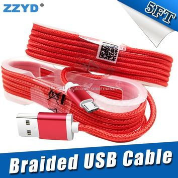 MINIMUM 100 PIECES!!!ZYD 1.5M 5FT Braided USB Micro Charger durable type C Cable For Samsung HTC Sony LG Phones With Metal Head Plug
