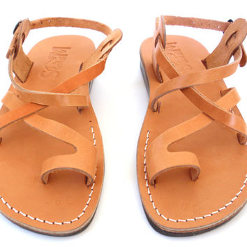 Leather Sandals JERUSALEM Style for Women and Men Handmade Flip-Flops Slippers Mules Flats Biblical Sandals