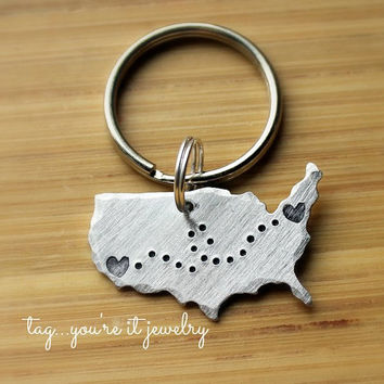 United States Keychain Long Distance Love Romance Traveling, Keyring,hand stamped, graduate