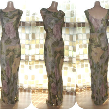 Vintage 90s Retro 30s Floral Art-Nouveau Bias Harlow Gown XL Formal Gatsby Dress Sheer Rayon