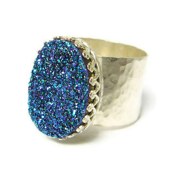 Silver druzy ring sterling silver ring blue drusy by WatchMeWorld