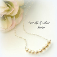 Sterling Silver and Pearl Bridal Necklace, Bridesmaid Necklace, Choose Your Color, Bridesmaid Gift, Bridal Jewelry, Wedding Jewelry