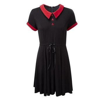 Gothic Dress Red Peter Pan Collar Chic Skull Button A-Line Casual Cotton