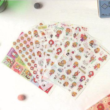 6 Sheets/Pack Alice in Wonderland Decoration Scrapbooking Stickers Transparent PVC Stationery Planner Stickers