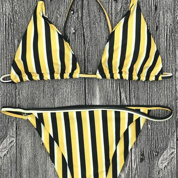 Bralette Striped Bikini Bra And Thong Bottoms