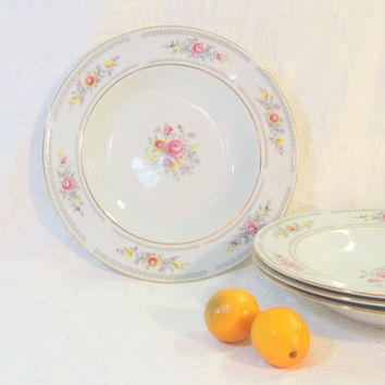 Vintage Large Bowls Floral Serving Bowls English Roses Pattern German Porcelain Bowls Mix And Match Soup Salad Bowls Gold Pink Floral Bowls