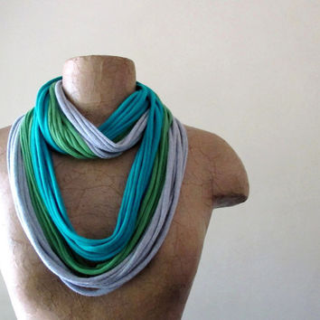Cotton Scarf Necklace - Turquoise, Heather Gray, Pea Green - Upcycled Jersey Cotton Infinity Scarf - Eco Friendly