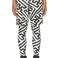 Ktz Black And White Patterned Layered Shorts