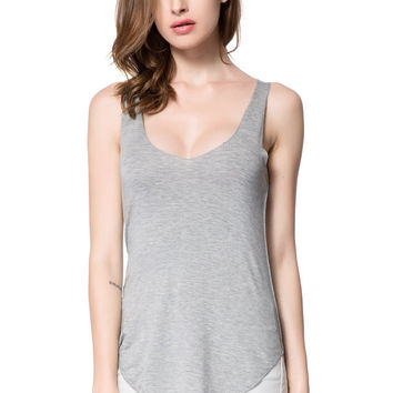 Gray Plunging Tank Top