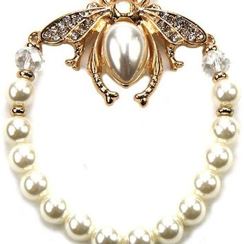 Bee Pendant Stretch Pearl Bracelet