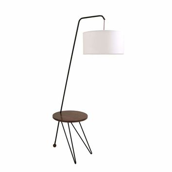 Stork Mid-Century Modern Floor Lamp with Walnut Wood Table Accent by LumiSource