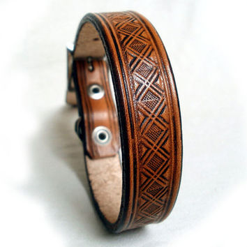 "Tooled leather dog collar, 3/4"" wide, in brown, tan or mahogany, basket weave, made to order"