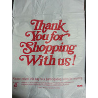 20W x 10G x 36H 30 Micron 1 mil Heavy Duty White Thank You Plastic T Shirt Bags/Case of 300