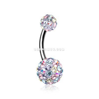 Retro Motley Multi-Gem Sparkle Belly Button Ring (Aurora Borealis/LT. Pink/Tanzanite)