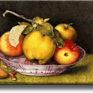 Apples By Giovanna Garzoni Hand Painted in 1600's Print on Acrylic , Wall Art Decor Ready to Hang!.