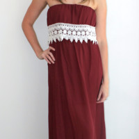 Game Day Maroon and White Off the Shoulder Maxi