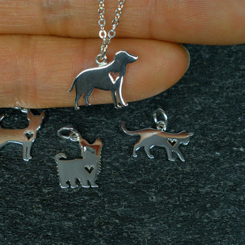 Sterling Silver, Dog Necklace, Dog Lover Jewelry, Dog Lover Gift, Dog Memorial, Labrador Retriever, Chihuahua Necklace, Yorkie, Pet lover