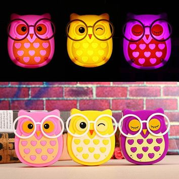 Cute Owl LED Eneray Saving Sense Light Night Light Kids Bedside Lamp Wall Bedroom Home Decor