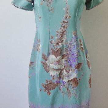 Vintage 1950s 1960s  Cheongsam Seafoam Green  Wiggle Asian Dress -  Size Small