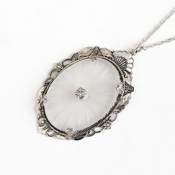 Vintage Sterling Silver Camphor Glass Flower Filigree Pendant Necklace - Art Deco 1930s Oval Frosted Glass & Rhinestone Statement Jewelry